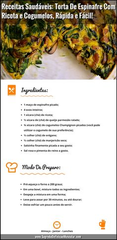Healthy Recipes: Mushroom Spinach Pie Quick and Easy! Low Carb Recipes, Diet Recipes, Vegetarian Recipes, Healthy Recipes, Quick Recipes, Tortas Low Carb, Comidas Light, Clean Eating, Healthy Eating