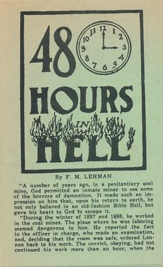 Penitentiary coal miner experiences 48 hours in Hell!  (Pilgrim Tract Society)