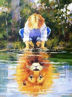 He's living on the inside, roaring like a lion! Prophetic Art by Marilyn Simandle -- ja m says: I May Yet be Small, but in CHRIST, Noble and Mighty am I! Art Prophétique, Prophetic Art, Lion Of Judah, Lion Art, Christian Art, Painting & Drawing, Lion Painting, Lions, Amazing Art