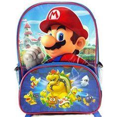 Super Mario Kids Backpack School Large Bag Preschool Toddlers Childrens Gift for sale online Cute Backpacks, School Backpacks, All Mario Games, Toddler School, Childrens Gifts, Super Mario, Game Character, Back To School, School Days