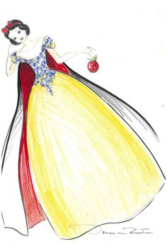 """Snow White by Oscar de la Renta; Harrods: """"'Someday your prince will come…' This silk gown is divine with intricate embroidery across the bodice and a floor-sweeping cape in signature red."""""""