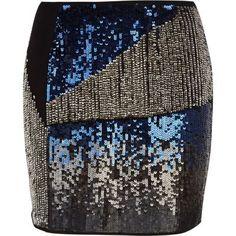 Blue sequin embellished mini skirt by: River Island @Karla Pruitt Bender Island