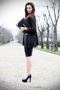 irene colzi irene's closet fashion blogger jean louis david evento firenze obihall tubino di pelle caban romantic giacca pochette nera