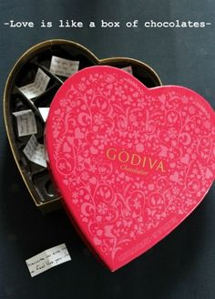 "My favorite Valentine's gift to give to to anyone I love. Start with box of chocolates with a note ""I love you because. eat through these chocolates to find out."" Under each piece of chocolate, write a mini note that explains just why you love hubby."
