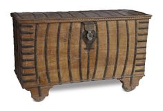 This large wooden dowry from the Gujarat region, trunk is bound by metal brackets and straps affixed with common hardware. The placement of the straps is unusual in that they are arced rather than straight. #20thCentury