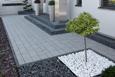 Concrete Paver Patio, Backyard Retaining Walls, Outdoor Walkway, Outdoor Patio Designs, Driveway Design, Driveway Landscaping, Small Backyard Landscaping, Modern Landscaping, Porch And Terrace