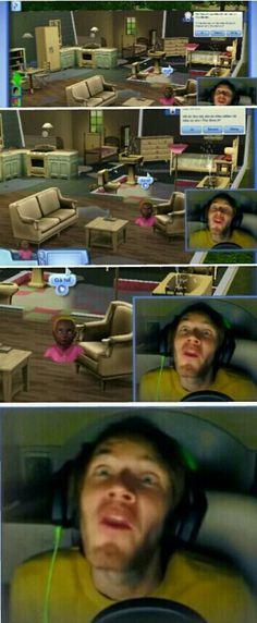 Pewdiepie plays sims. Mr Chair, I luv u!