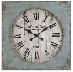 Oversized Distressed Blue Square Clock