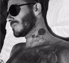 ': Just after the former Spice Girl posted it, she also s… 'Happy Friday!': Just after the former Spice Girl posted it, she also shared a snap of husband David, sunbathing shirtless, his new neck tattoo on display David Beckham Tattoos, Tatuajes David Beckham, David Beckham Shoes, David Beckham Young, David Beckham Daughter, David Beckham Haircut, David Beckham Style, Beckham Suit, Diy Tattoo