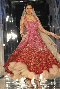 Pretty red and gold outfit for sangeet