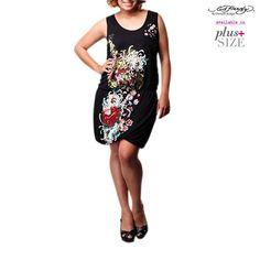 Plus Size Ed Hardy Casual Tank Dress - Black