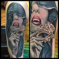 Vampire Tattoo, Custom Tattoo, Portrait, Tattoos, Color, Image, Instagram, Ideas, Tatuajes