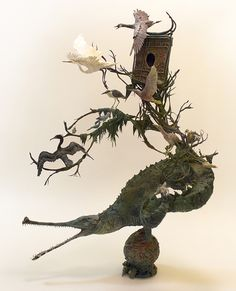 You are My Oasis, by Ellen Jewett Sculpture is created with metal, clay and acrylic paints.