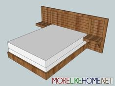 Modern bed frame plans What if I said no bed today Modern style bed has a unique long low headboard with built in nightstands But could Furniture Projects, Furniture Plans, Home Projects, Diy Furniture, Furniture Stores, Furniture Outlet, Furniture Movers, Furniture Online, Plywood Furniture