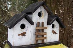 Primitive Birdhouse Triplex Three Compartment White Black Ladder Rusty Birds. 48.00, via Etsy.