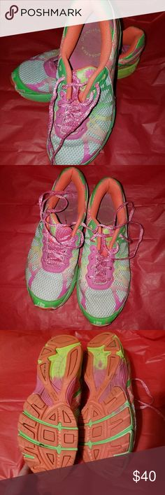 Asics sneakers Asics sneakers in good condition great fun colors . These are a kids size 6 ladies 7.5 Asics Shoes Athletic Shoes