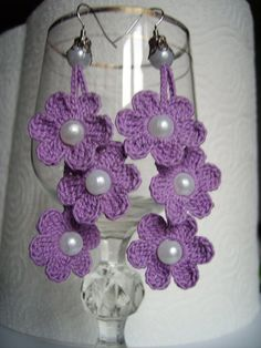 crochet earrings crochet flower earrings crochet by JewelrySpace, $8.00