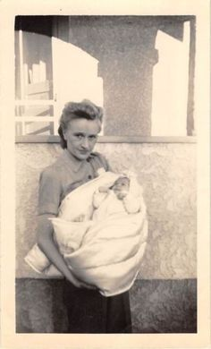 Photograph Snapshot Vintage Black and White: Mom Holding Newborn Baby 1950's