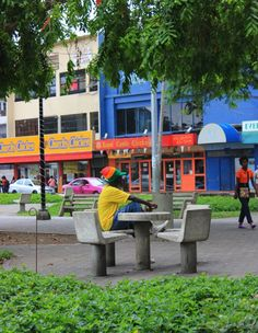 Morning view: colourful downtown Port of Spain, Trinidad