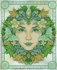 Green Goddess Cross Stitch Pattern by Joan Elliott