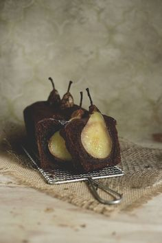 Tipsy Chocolate nut cake with sunken pears and spices