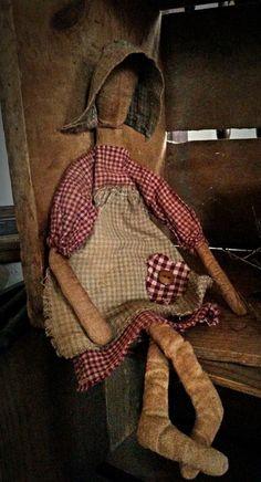 Primitive Prairie Doll by AggiesAtticHomeDecor on Etsy
