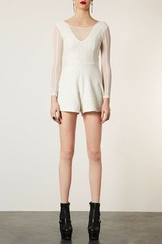 8f257d7d51 Lace and Mesh Playsuit - Rompers - Clothing - Topshop USA