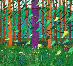 David Hockney: _ The Arrival of Spring in Woldgate, East Yorkshire, Those leaves are brilliant. David Hockney Ipad, David Hockney Art, David Hockney Paintings, Robert Rauschenberg, David Hockney Landscapes, Pop Art Movement, Tree Artwork, Royal Academy Of Arts, Edward Hopper