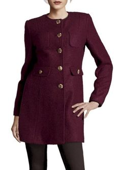 Button Down Wool Coat In Concord