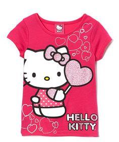 Another great find on #zulily! Fuchsia Glitter Hearts Hello Kitty Tee - Girls by Hello Kitty #zulilyfinds