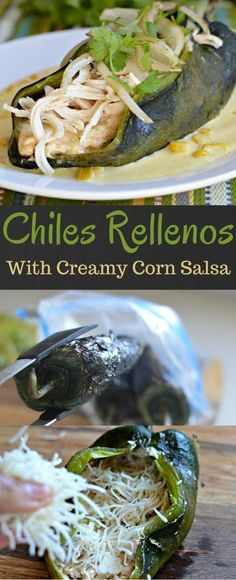 These chiles rellenos are so delicious that you will be coming back for more. The creamy corn salsa adds the perfect amount of creaminess and flavor to make this a must have Mexican dish.: