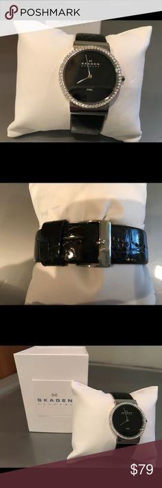 Woman Skagan watch Womans Skagen watch. Black leather with crystal embellished face. Never worn. Skagen Jewelry
