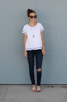 DIY Shirt // DIY Fashion // White Swing Tee // Tee with Trim// Cotton// By: Merrick White on Joann.com