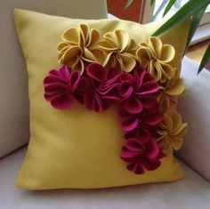 Check out our decorative pillows selection for the very best in unique or custom, handmade pieces from our shops. Felt Flower Pillow, Felt Pillow, Sewing Pillows, Diy Pillows, Throw Pillows, Cushions, Cushion Cover Designs, Pillow Cover Design, Cushion Embroidery