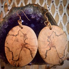 """My new #chicverte earrings made from fallen """"Clippy's Pecan Wood"""" from my good friend Gavin's family's Ayavalla Plantation in Florida. Thank you, Gavin and Lisa!  I adore them! @chicverte"""
