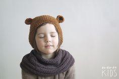 Crochet Bear Hat With Ears van kokokoshop op Etsy Crochet Bear Hat, Knit Crochet, Knitting For Kids, Baby Knitting, Animal Costumes, Ear Hats, Knitting Accessories, Kid Styles, Kids Wear