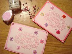 52.キラキラパウダーを使ってお花のバースデーカード | 簡単手作りカード                                             Chocolate Card Factory