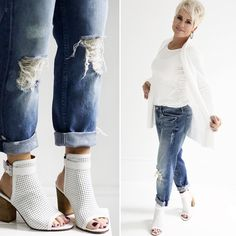 I've seen white shoes EVERYWHERE this season!   Flatform tennies, pumps, pointy flats, and now BOOTIES!   OH!!! I LOVE them so much!   ...
