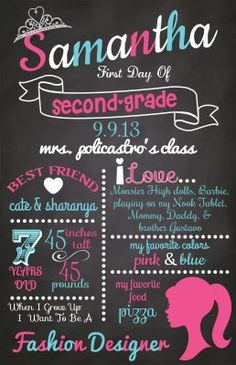 {Barbie} Back To School Chalkboard Sign