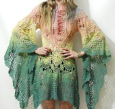 CROCHET Lace Dress COTTON Ombre Dip-Dye Rainbow by cruxandcrow