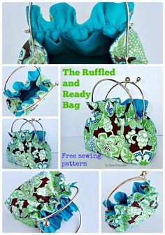 Ruffled and Ready Bag. Easy to sew free bag pattern. The frame can be removed to use in other bags too so you can make lots of different covers and swap them out. Purse Patterns, Sewing Patterns Free, Free Sewing, Sewing Hacks, Sewing Tutorials, Leftover Fabric, Simple Bags, Easy Bag, Sewing Projects For Beginners