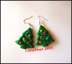 Handmade dark green Christmas/Xmas tree earrings, with baubles - perfect for a christmas gift! (polymer clay tree/christmas jewelry)