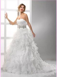 White Ball Scoop Neck Beading Organza Wedding Dress