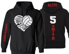 Glitter Volleyball Hoodie   Customize with your Team & Colors   Adult or Youth Sizes by GavinsAllyeDesigns on Etsy