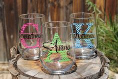 These fun 17 oz stemless wine glasses are personalized with a chevron style monogram and name...you choose the colors! They are perfect for any