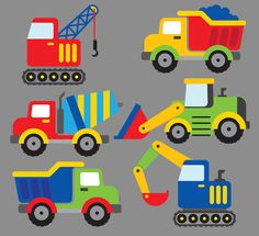 CONSTRUCTION TRUCKS Clipart Printable Instant by VivisPartyShop
