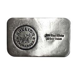 10 oz Bullion Exchanges Silver Hand Poured Bar .999 Fine