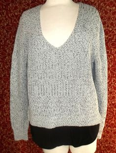 NWOT BANANA REPUBLIC black cotton tweed long sleeve V-neck sweater XL (T43-05E7G #BananaRepublic #VNeck