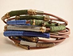 Boho inspired thread wrap leather bracelet - I love this style! I have to have this in my boho jewelry stash. Neutral colors are the best and the gold details... this is just dreamy <3 #boho #bracelets #leather