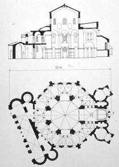 Planta y alzado de la iglesia de San Vital de Rávena, siglo VI.
